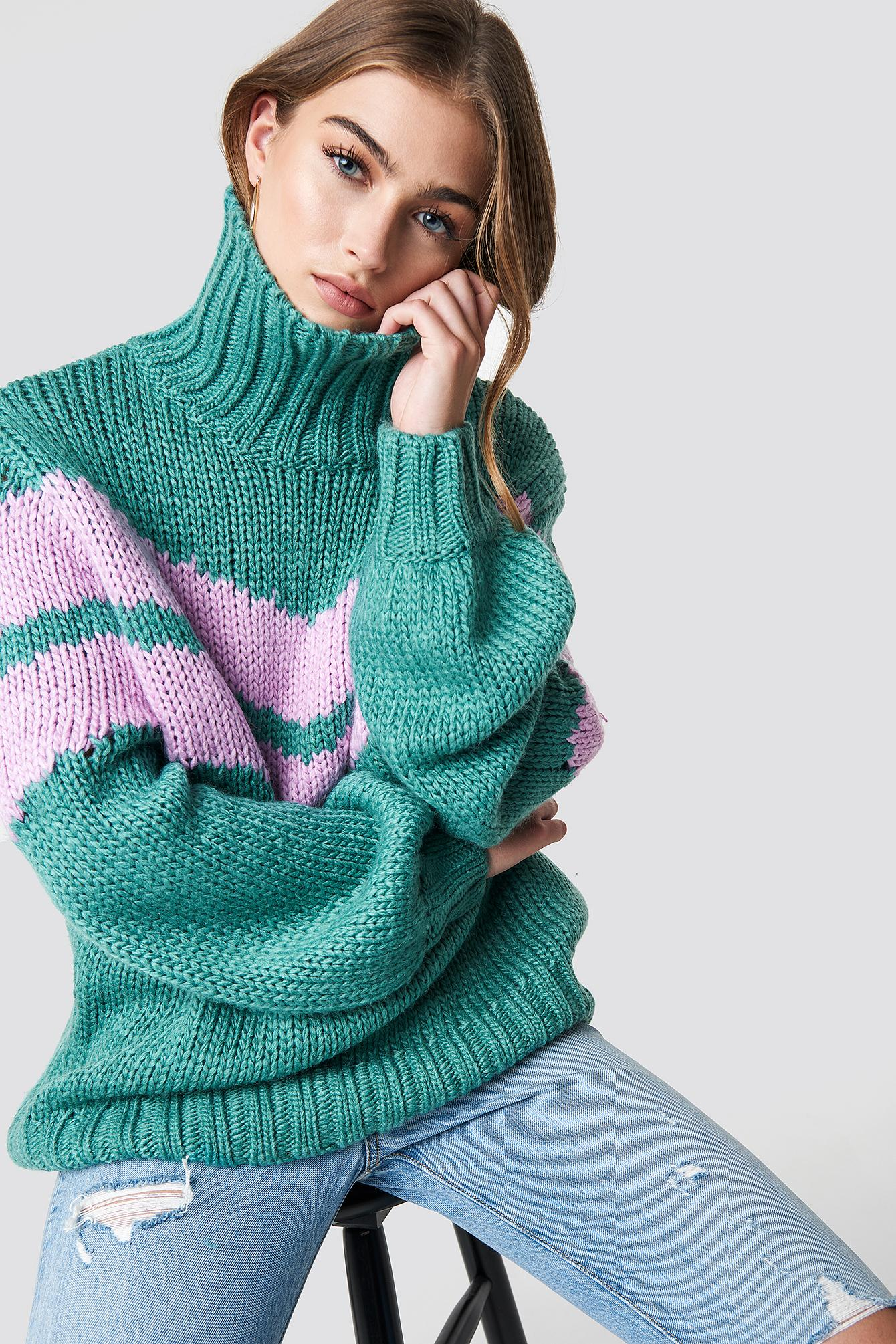 Glamorous Knitted Polo Jumper - Green In Jade Orchid