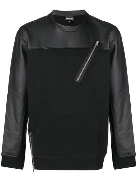 Just Cavalli Zip Detail Sweatshirt In Black