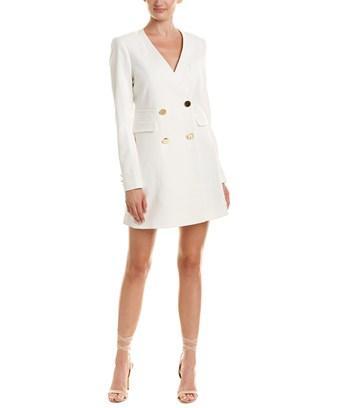 fac74e516d2 Rachel Zoe Betty Blazer Wrap Dress In White