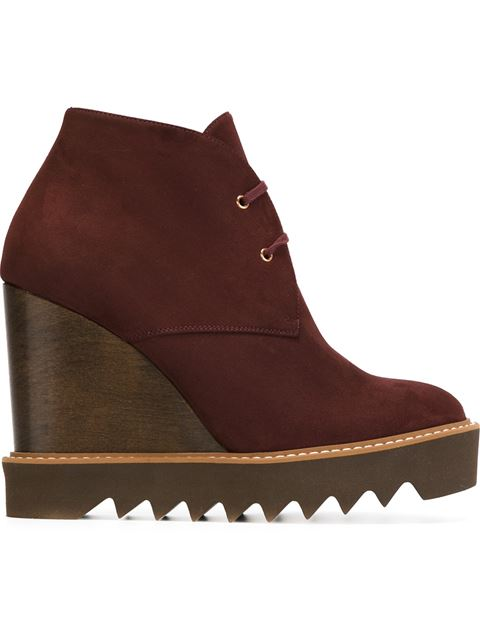 Stella Mccartney Leana Lace-Up Faux-Suede Wedge Boots In Burgundy