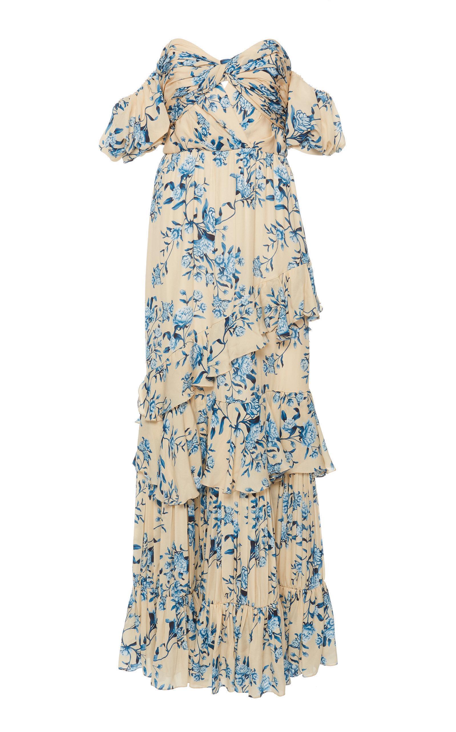 a19b7ff716e Johanna Ortiz Drapes Of Solitude Off-Shoulder Silk Georgette Dress In Floral