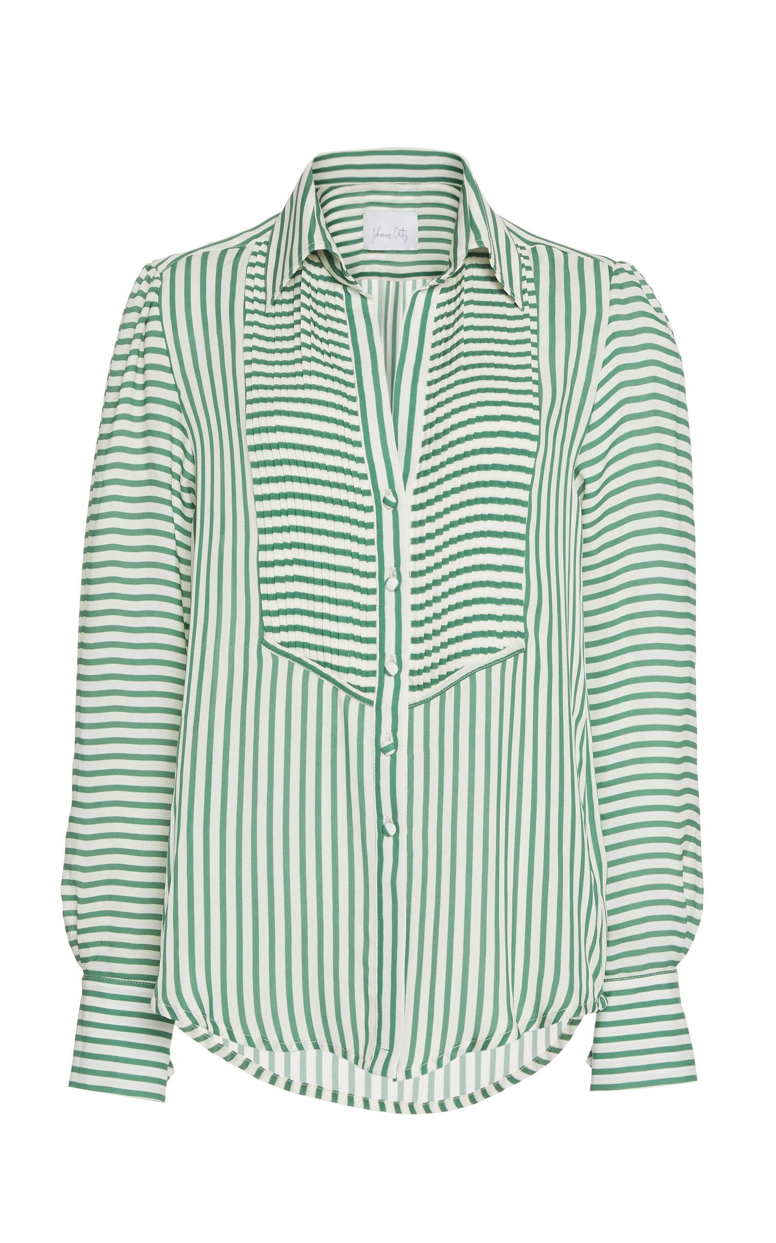 196037da5f44b Johanna Ortiz Emerald Discovery Striped Silk Georgette Shirt