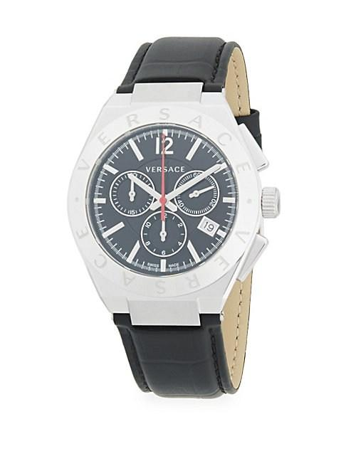 Versace Stainless Steel & Leather-Strap Watch In Grey