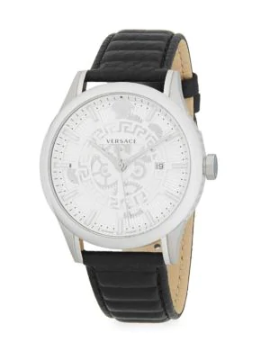 Versace Stainless Steel Analog Leather Watch In Grey