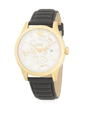 Versace Logo Stainless Steel & Leather-Strap Watch In Gold