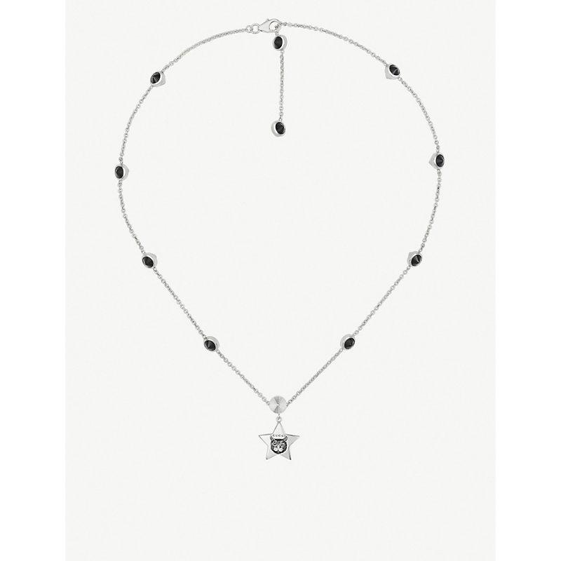 59651a747 Gucci Blind For Love Cat-Engraved Sterling Silver And Black Spinels Necklace