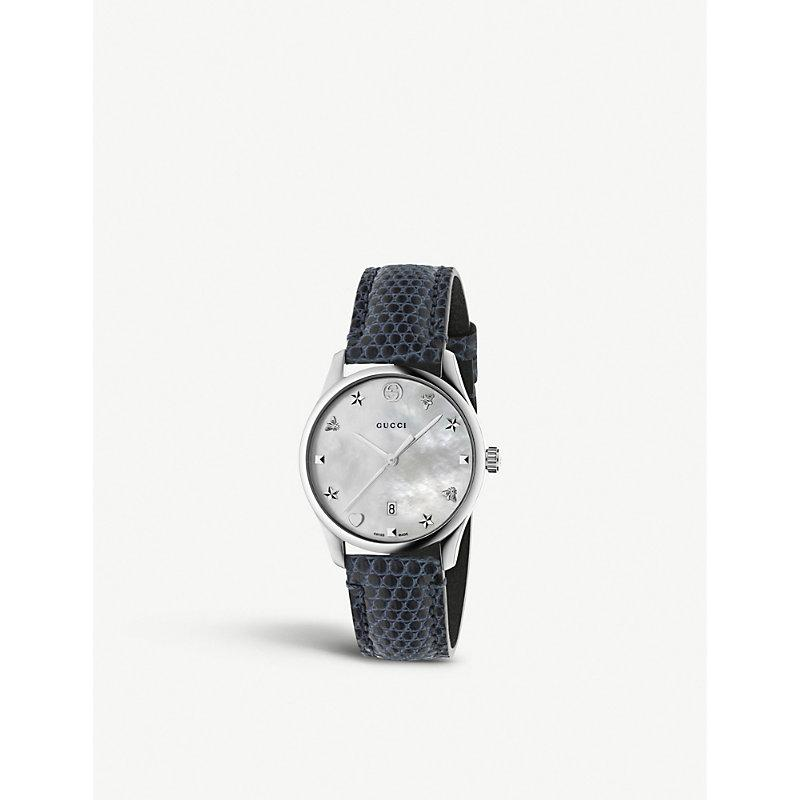 f3849053e82 Gucci Ya1264049 G-Timeless Mother-Of-Pearl And Lizard-Leather Strap Quartz