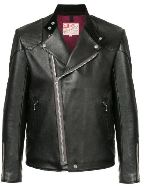 Addict Clothes Japan Vintage Style Biker Jacket In Black