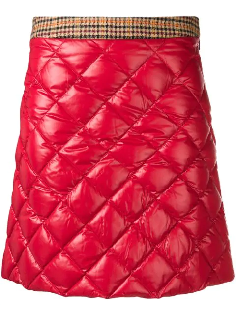 Moncler Quilted Down Miniskirt In Red