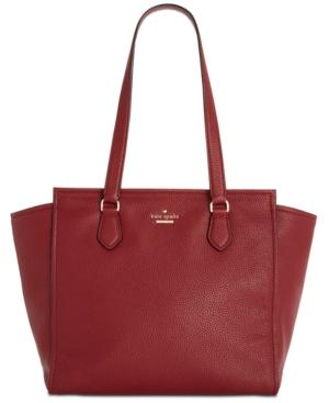 Kate Spade Jackson Street - Hayden Leather Satchel - Red In Fig Jam/Gold