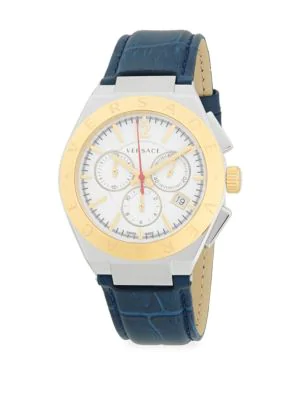 Versace Two-Tone Leather-Strap Stainless Steel Analog Watch In Gold