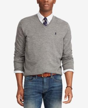 Polo Ralph Lauren Men's Merino Wool V-Neck Sweater In Fawn Grey Heather