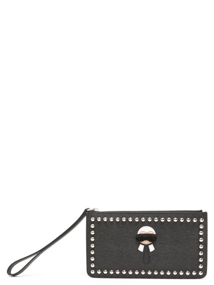 8fde03493e47 Fendi Karlito Clutch Bag In Black