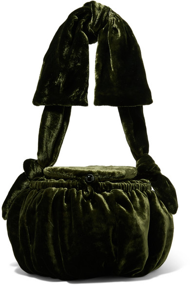 Joana Velvet Shoulder Bag in Forest Green