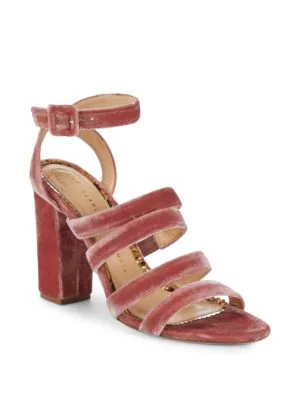 Charlotte Olympia Block Heel Ankle Strap Sandals In Blush
