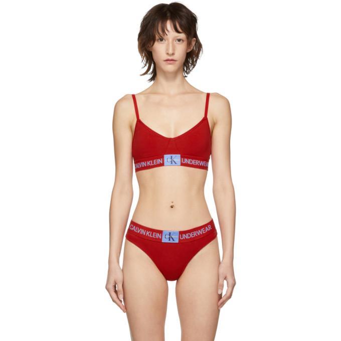 fb0573d0c074b Calvin Klein Underwear Red Monogram Triangle Bra In 612 Red