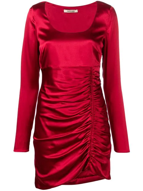 Roberto Cavalli Silk Long Sleeve Mini Dress In Red