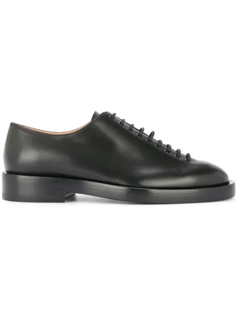 Jil Sander Lace Up Leather Shoes In Black