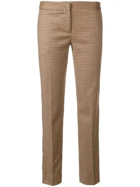 Twinset Cropped Houndstooth Check Trousers In Multicolour