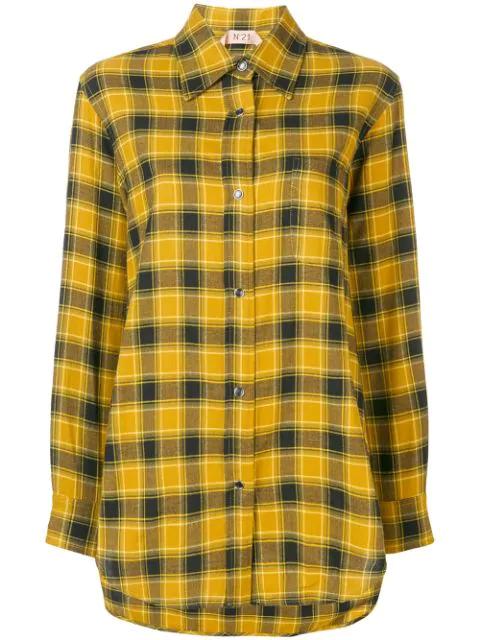 N°21 Nº21 Flanellhemd Mit Fransen - Gelb In Yellow