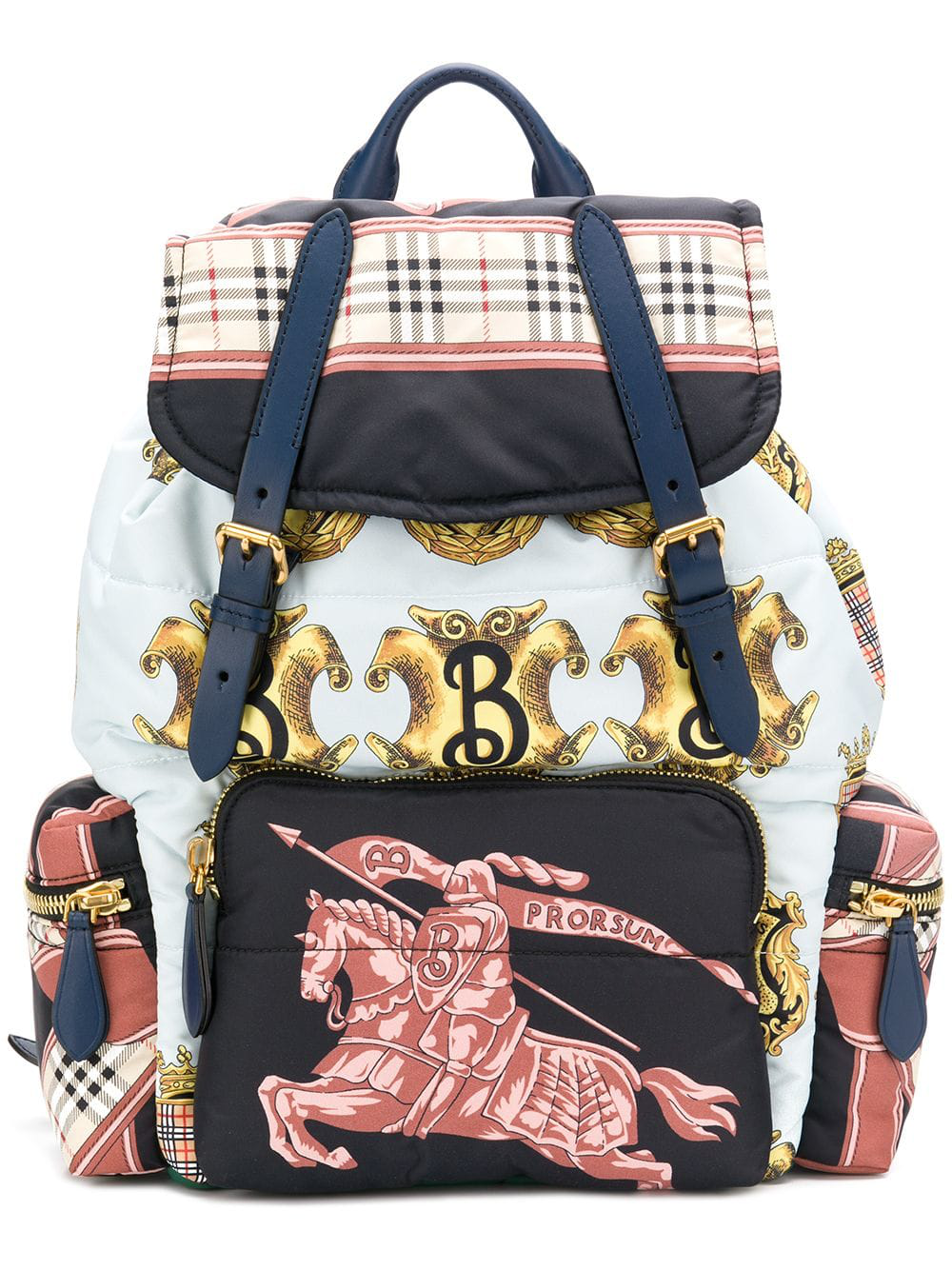 40e754090e5a Burberry Multicolor Large Archive Scarf Print Backpack In Blue ...