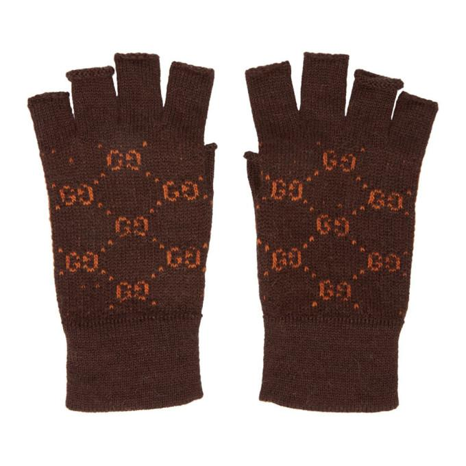 Gucci Gg Logo Alpaca And Wool Fingerless Gloves In 2176 Brown  d6594bb5e09c