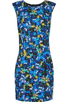 Milly Woman Printed Stretch-Cady Mini Dress Multicolor