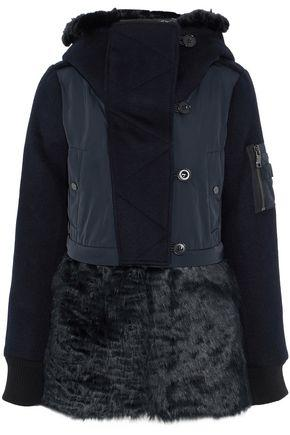 Ashley B. Woman Faux Fur And Shell-Paneled Wool-Blend Down Hooded Jacket Midnight Blue