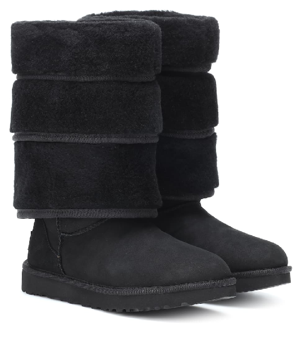 Y/project Y / Project X Ugg Black Tiered Sheepskin Boots
