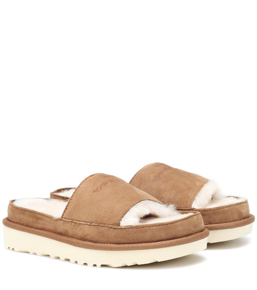 c3e89876d55 X Ugg Genuine Shearling Slide Sandal in Brown