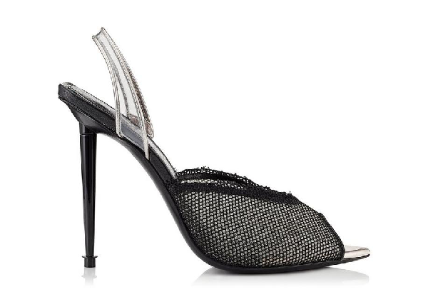Tom Ford Metallic Leather, Pvc And Mesh Slingback Pumps In Black