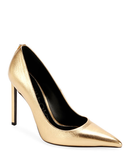 Tom Ford Laminated Leather 105Mm Pumps In Gold