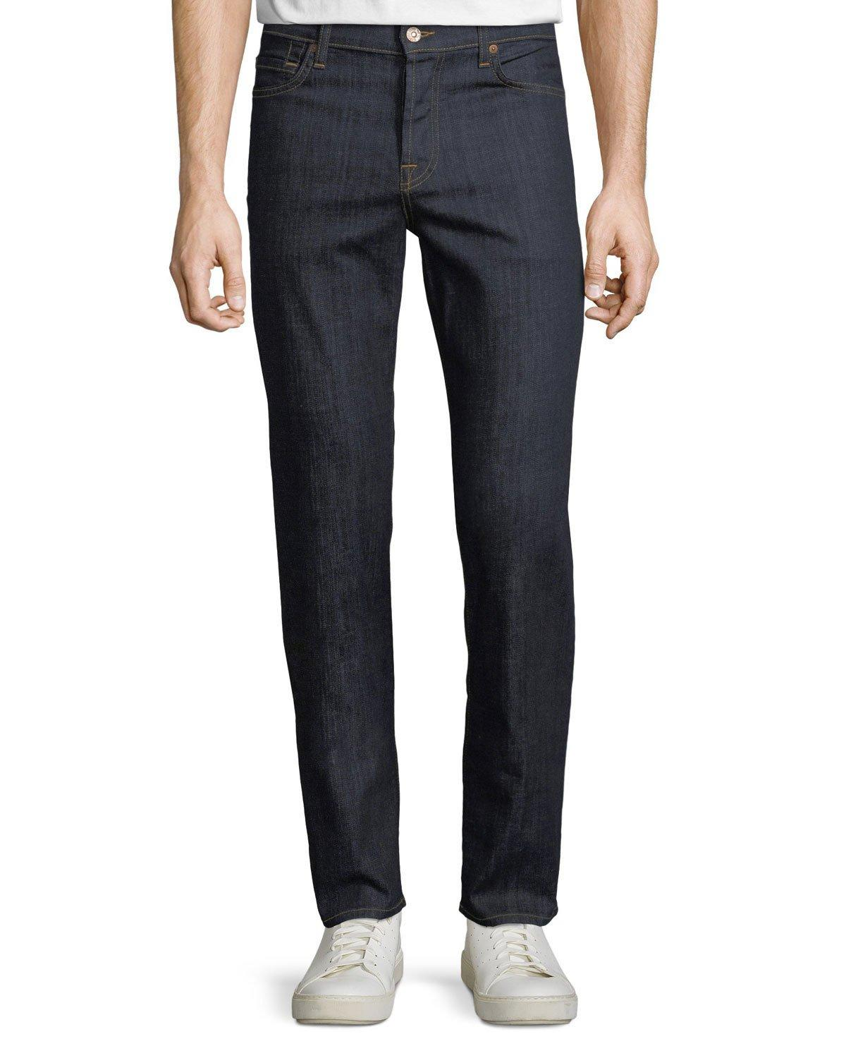 7 For All Mankind Men's Standard Comfort-stretch Straight-leg Jeans In Blue