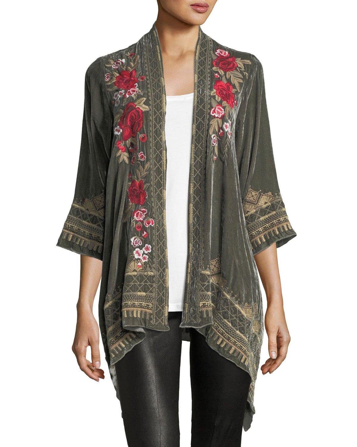 2583ca05b0 Johnny Was Meri Floral-Embroidered Velvet Cardigan