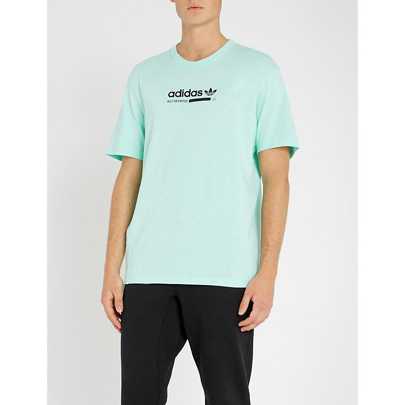 Kaval Logo Print Cotton Jersey T Shirt in Clear Mint