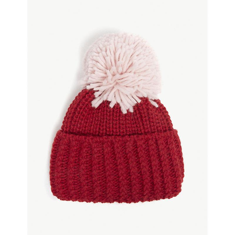 a7ac15bbc53 Sandro Large Pom Pom Knitted Beanie In Red