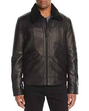 Andrew Marc Men's Kilmer Leather Bomber Jacket W/ Shearling Collar In Black