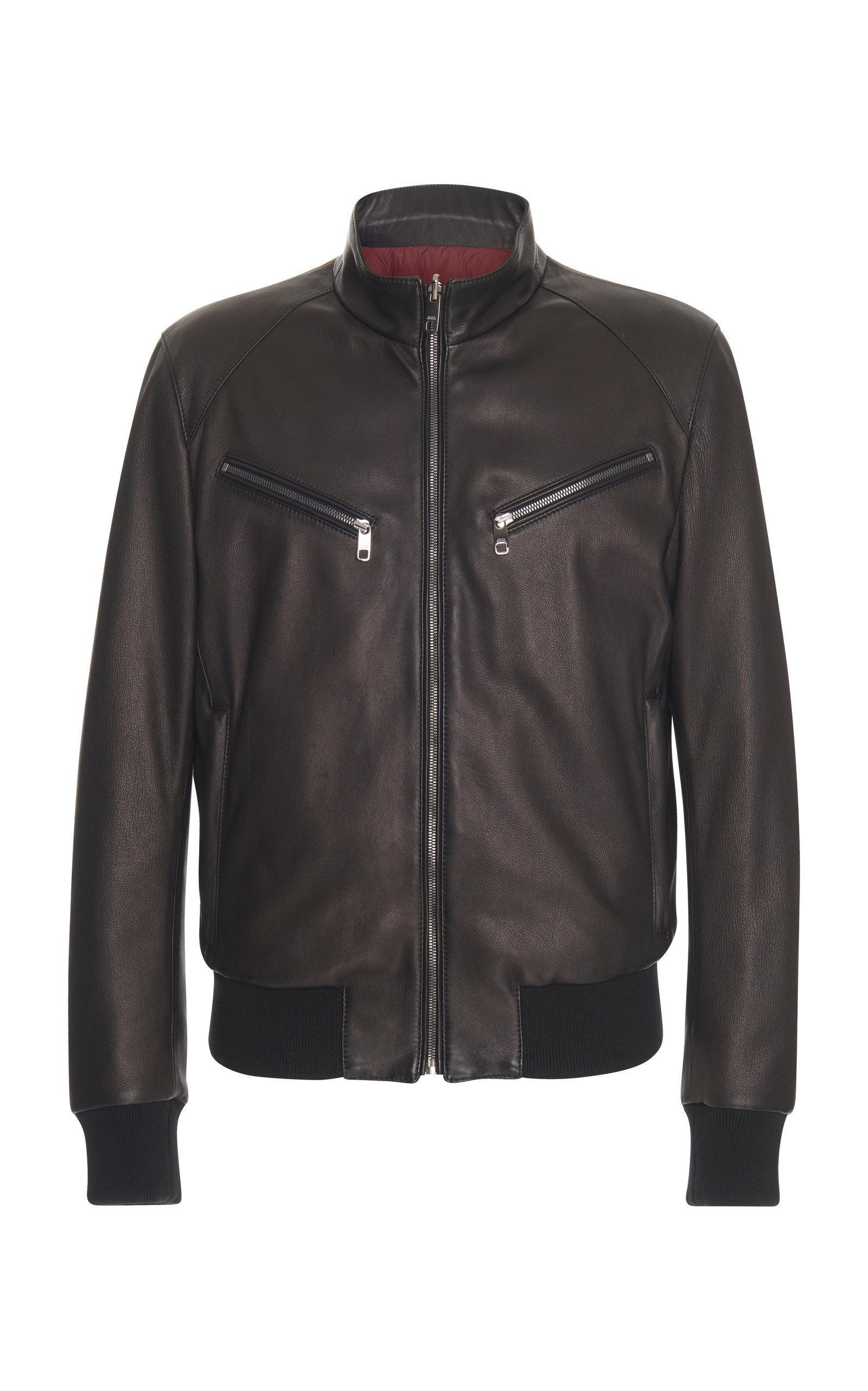 Dolce & Gabbana Reversible Leather Bomber Jacket In Black