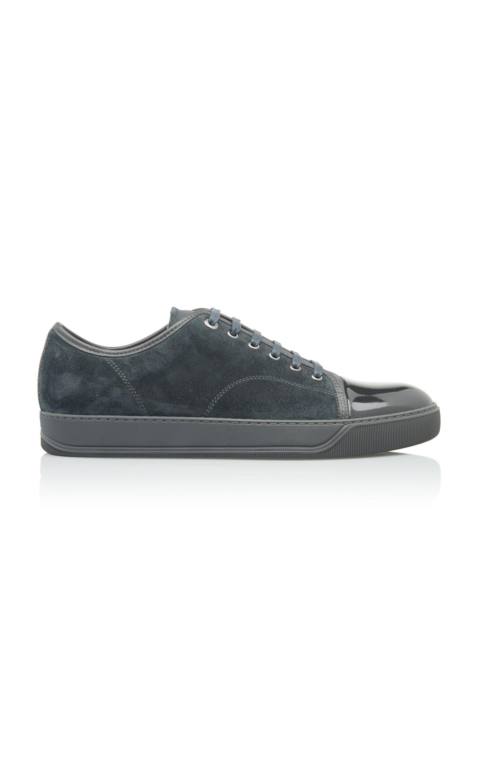 cacf85582b5 Lanvin Cap-Toe Suede And Patent Leather Sneakers In Grey | ModeSens