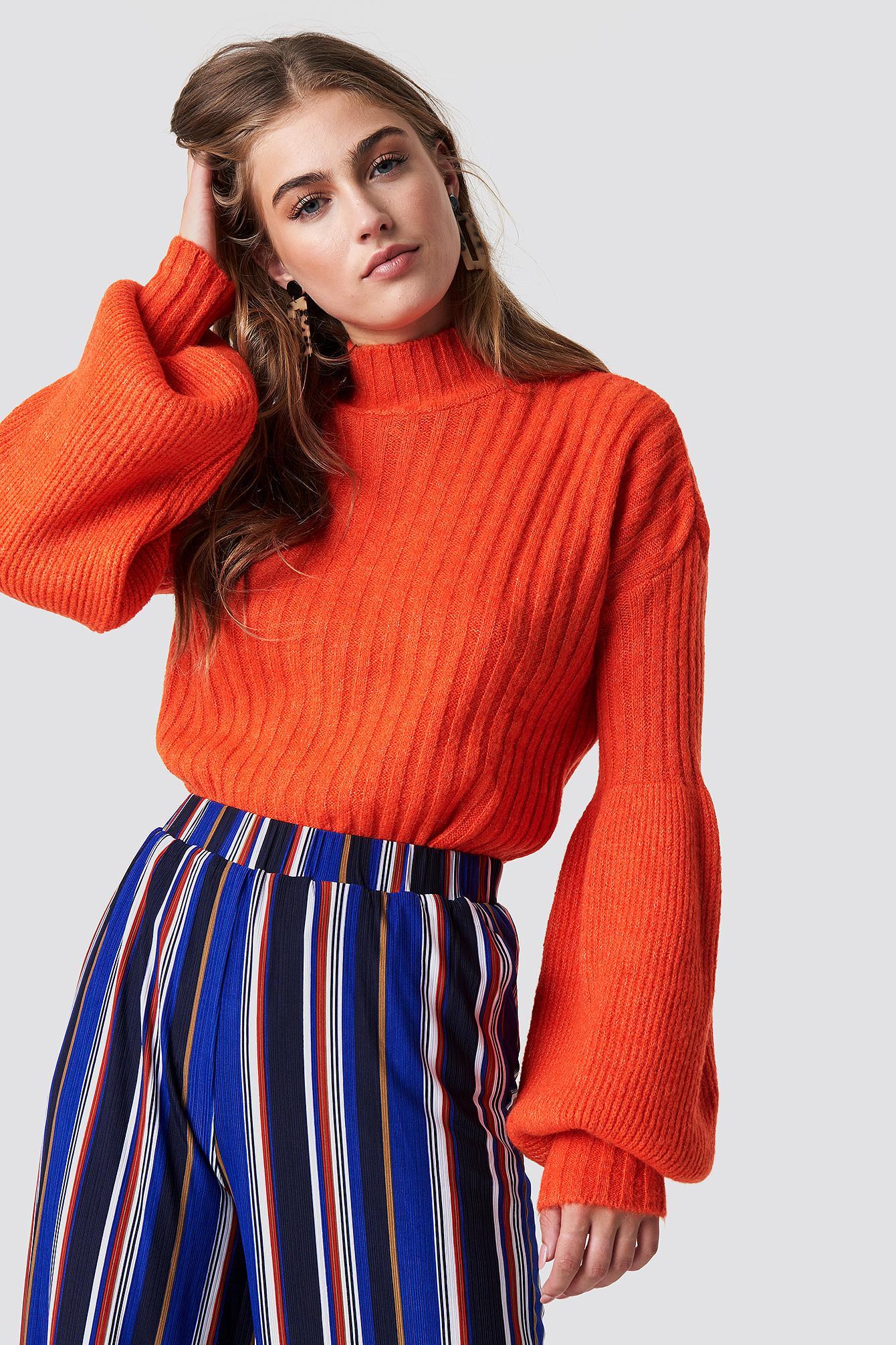 8166074e5f79a Balloon Sleeve Knitted Sweater - Orange