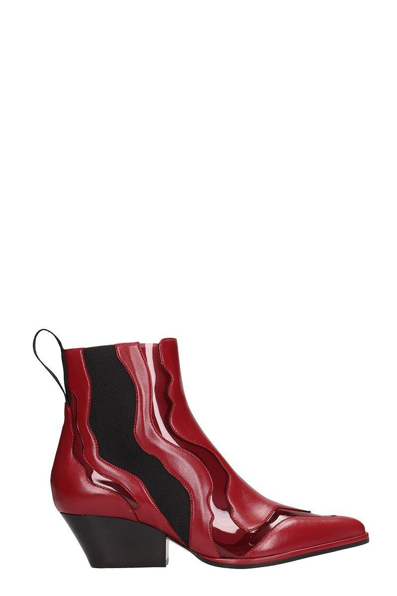 Sergio Rossi Red Leather Ankle Boot In Red Leather