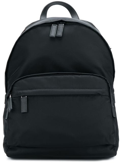 Prada Logo Patch Backpack In Black