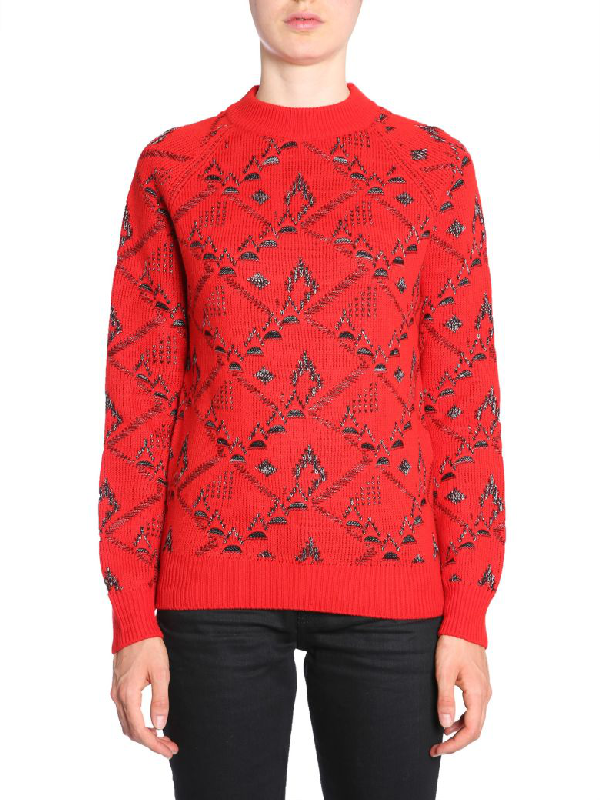 Saint Laurent Turtleneck Jumper In Rosso