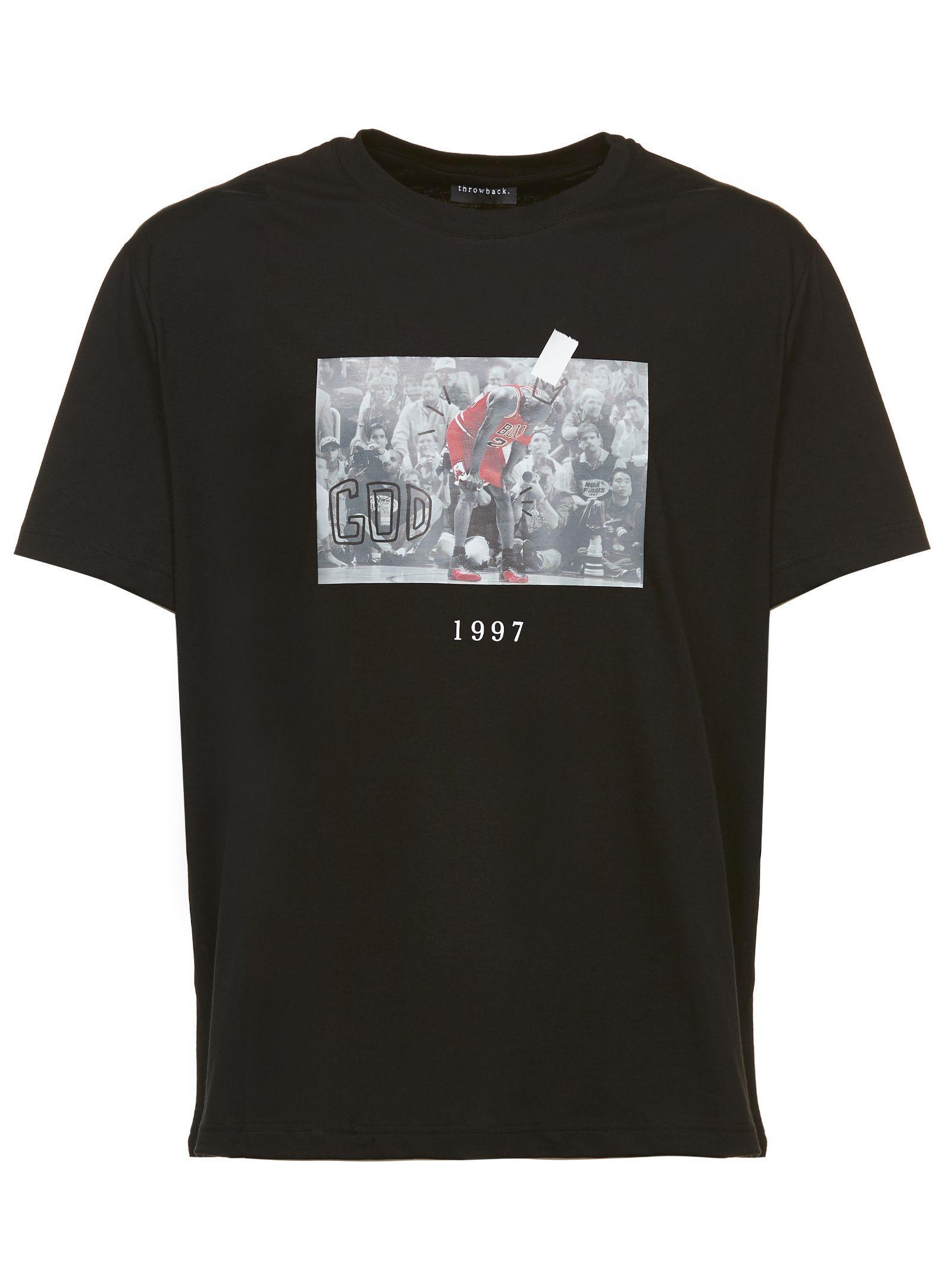 e7ee17a47d1 Throw Back Michael Jordan Flu Game Photo Print T-Shirt In Nero Rosso ...