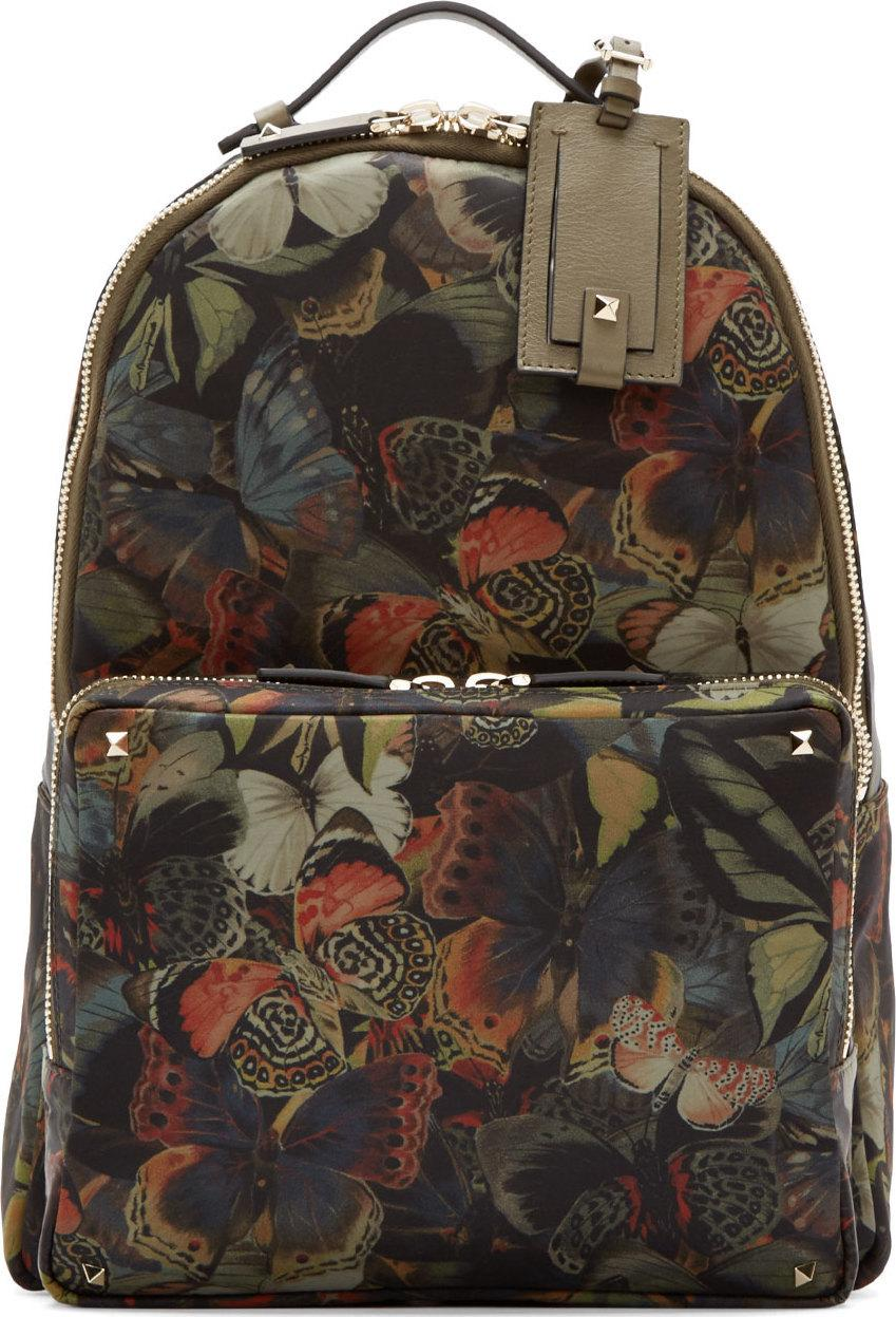Valentino Multicolor Butterfly Camouflage Medium Backpack In Green