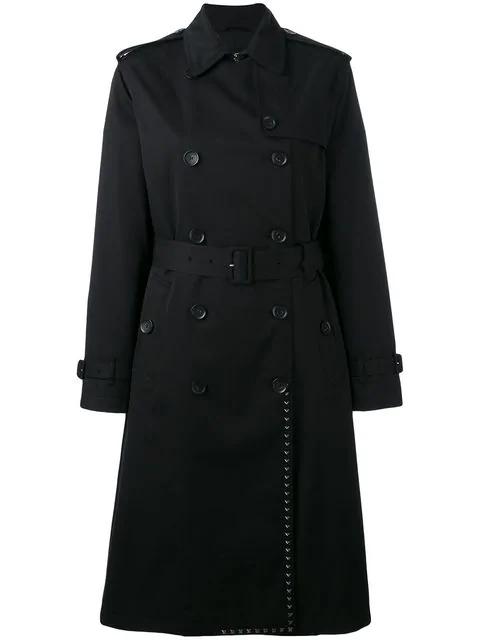 Valentino Rockstud Trench Coat In Black