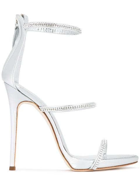 Giuseppe Zanotti Patent Leather 'Harmony' Sandal With Crystals Harmony Sparkle In Silver