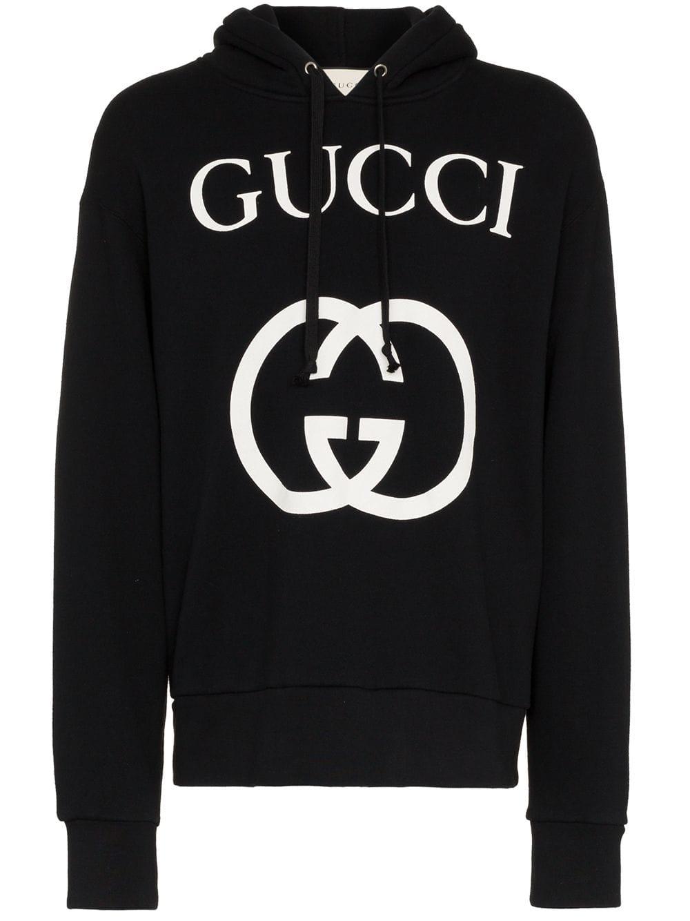a0d47d75645 Gucci Interlocking G Logo Cotton Hoodie - Black