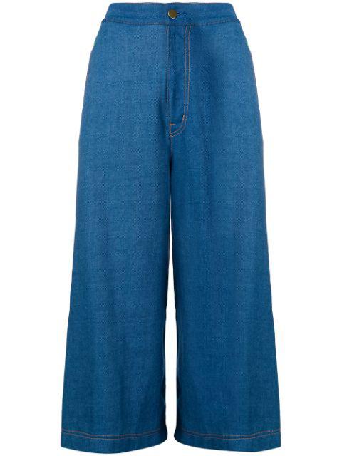 Tsumori Chisato Knitted Side Stripe Denim Culottes In Blue