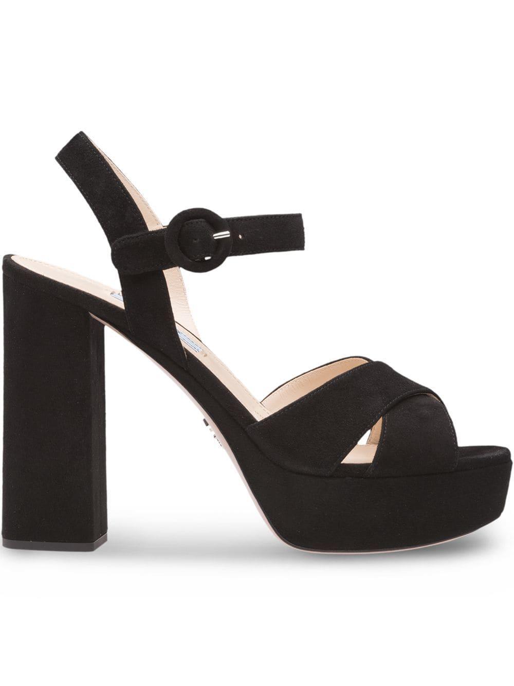 1cd07e5e5ac Prada Suede Platform Sandals - Black